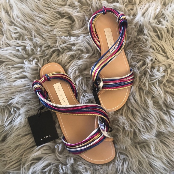 exclusive range buy good shades of Zara Shoes | Multicolored Strap Sandals Flats | Poshmark